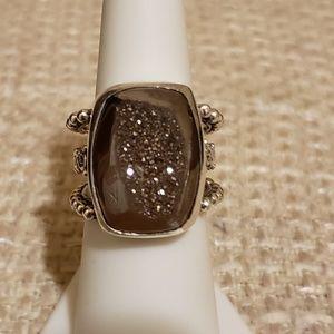 Geniune Druzy Gemstone Ring in solid .925